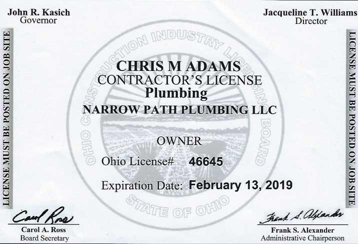 Plumbing Contractor License Valid Until 2019 Plumbing And